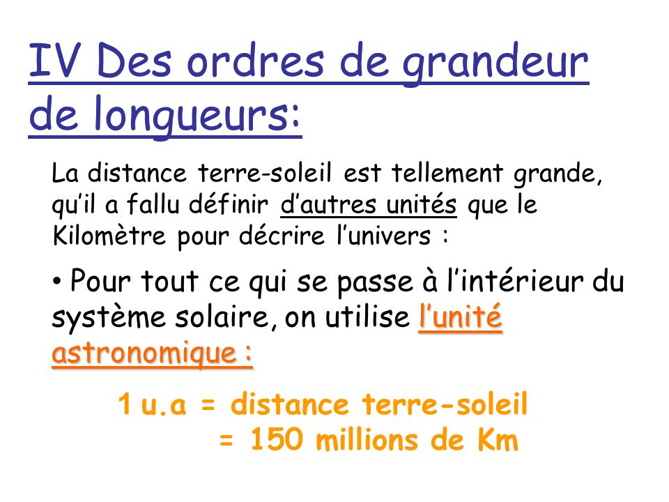 IV Des ordres de grandeur de longueurs: La distance terre-soleil est tellement grande, quil a fallu définir dautres unités que le Kilomètre pour décri