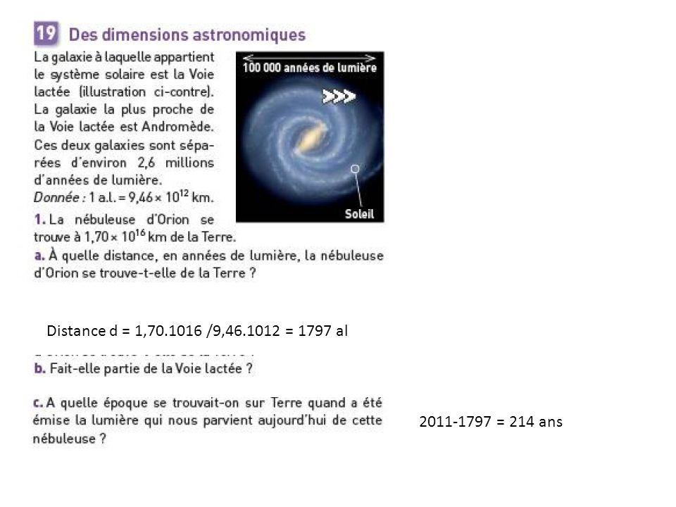 Distance d = 1,70.1016 /9,46.1012 = 1797 al 2011-1797 = 214 ans