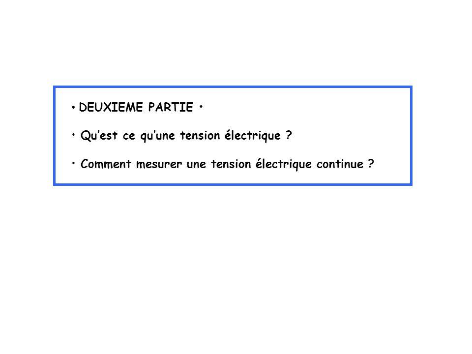 DEUXIEME PARTIE Quest ce quune tension électrique ? Comment mesurer une tension électrique continue ?