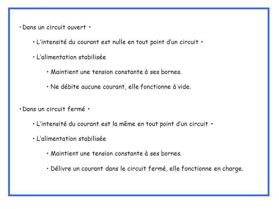 Dans un circuit ouvert Lintensité du courant est nulle en tout point dun circuit Lalimentation stabilisée Maintient une tension constante à ses bornes
