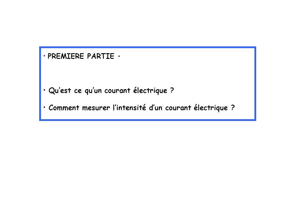 PREMIERE PARTIE Quest ce quun courant électrique ? Comment mesurer lintensité dun courant électrique ?