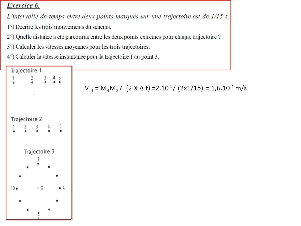 V 3 = M 4 M 2 / (2 X Δ t) =2.10 -2 / (2x1/15) = 1,6.10 -1 m/s
