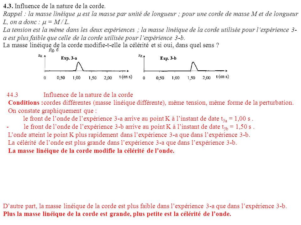 4.3. Influence de la nature de la corde. Rappel : la masse linéique est la masse par unité de longueur ; pour une corde de masse M et de longueur L, o