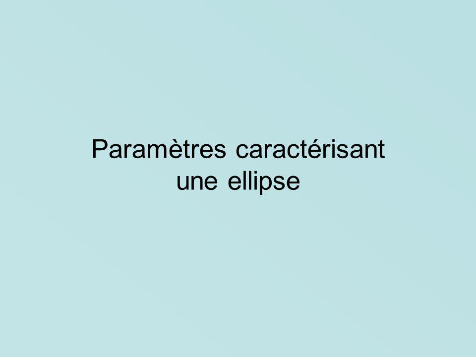 Paramètres caractérisant une ellipse