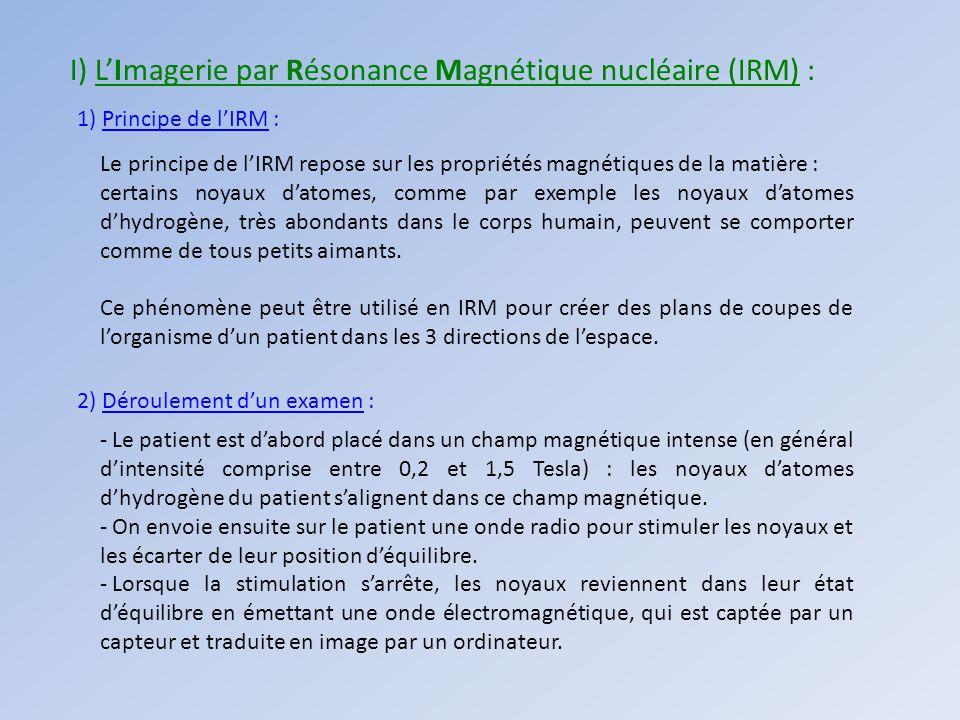 I) LImagerie par Résonance Magnétique nucléaire (IRM) : 1) Principe de lIRM : Le principe de lIRM repose sur les propriétés magnétiques de la matière