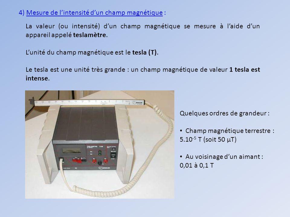 4) Mesure de lintensité dun champ magnétique : La valeur (ou intensité) dun champ magnétique se mesure à laide dun appareil appelé teslamètre. Lunité