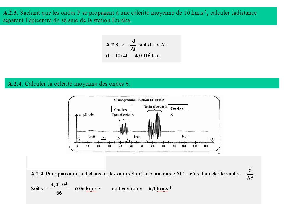 A.2.3. Sachant que les ondes P se propagent à une célérité moyenne de 10 km.s -1, calculer ladistance séparant l'épicentre du séisme de la station Eur