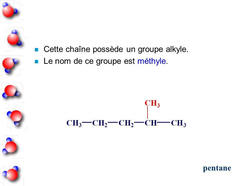 n Cette chaîne possède un groupe alkyle. n Le nom de ce groupe est méthyle. pentane