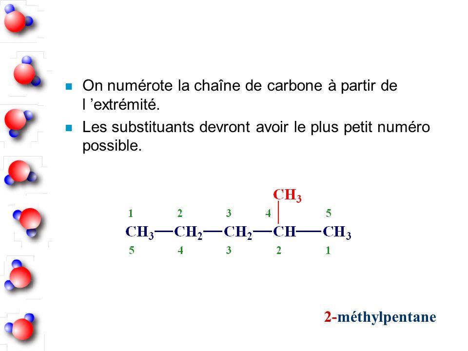 n On numérote la chaîne de carbone à partir de l extrémité. n Les substituants devront avoir le plus petit numéro possible. 2-méthylpentane
