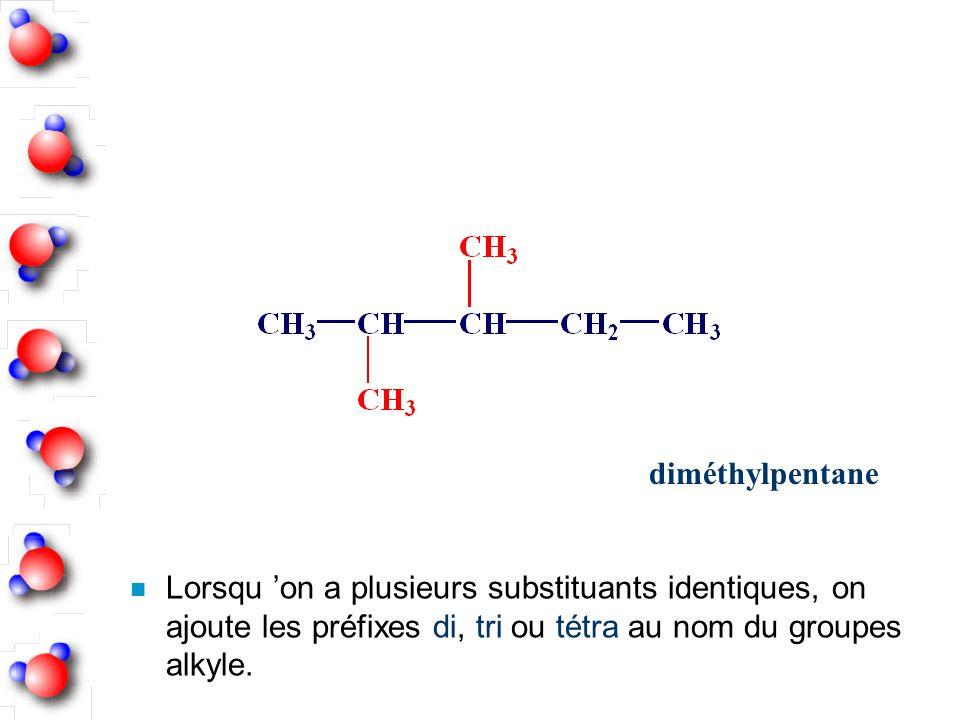 n Lorsqu on a plusieurs substituants identiques, on ajoute les préfixes di, tri ou tétra au nom du groupes alkyle. diméthylpentane