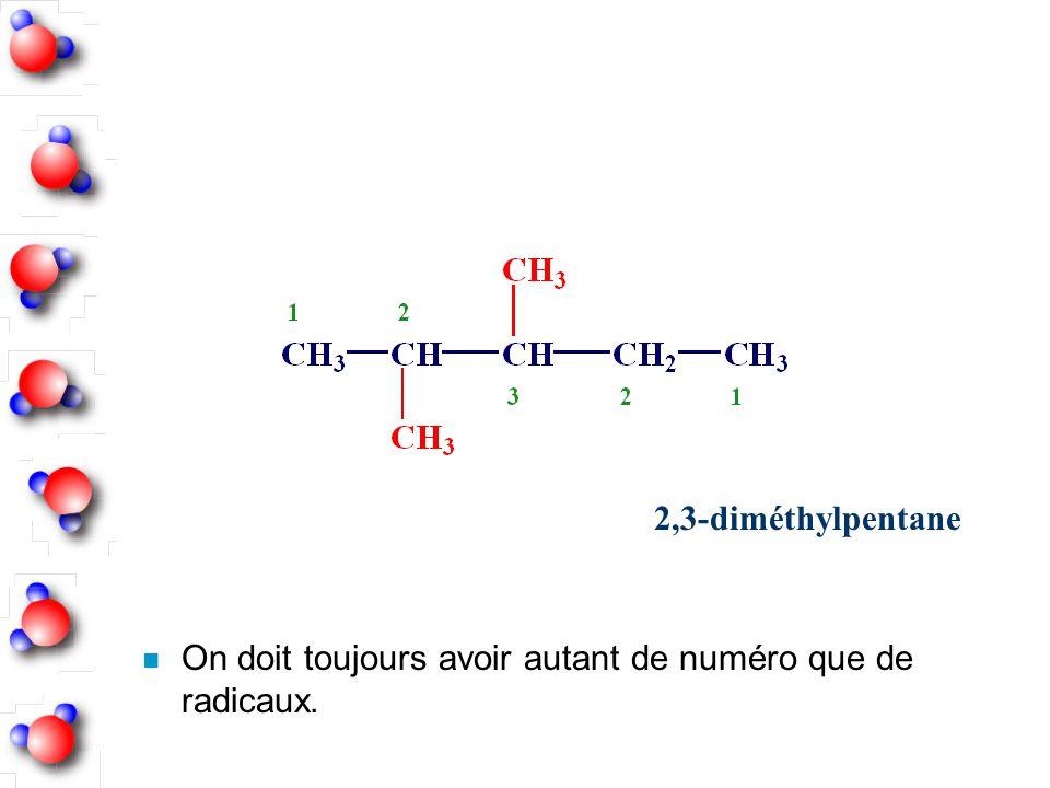 n On doit toujours avoir autant de numéro que de radicaux. 2,3-diméthylpentane