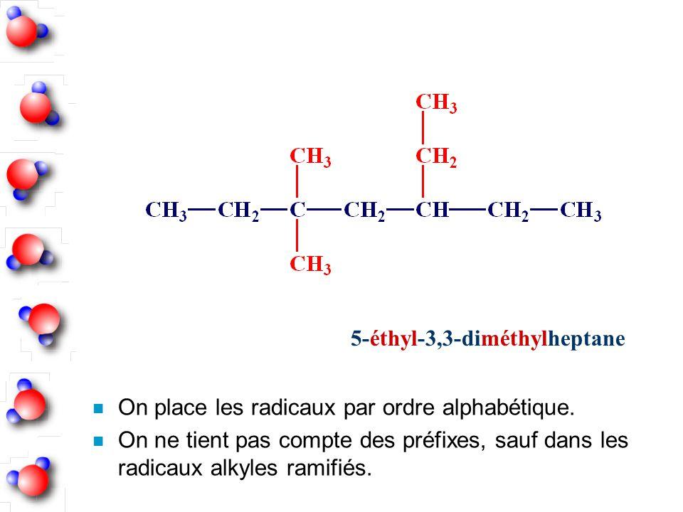 5-éthyl-3,3-diméthylheptane n On place les radicaux par ordre alphabétique. n On ne tient pas compte des préfixes, sauf dans les radicaux alkyles rami