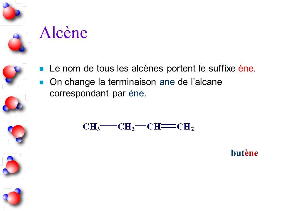 Alcène n Le nom de tous les alcènes portent le suffixe ène. n On change la terminaison ane de lalcane correspondant par ène. butène