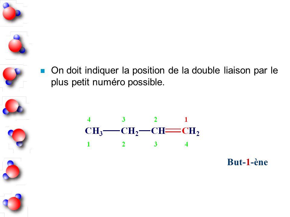 n On doit indiquer la position de la double liaison par le plus petit numéro possible. But-1-ène
