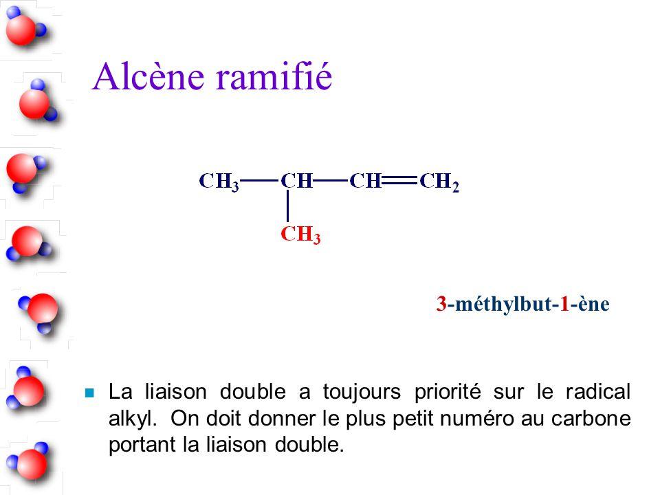 Alcène ramifié n La liaison double a toujours priorité sur le radical alkyl. On doit donner le plus petit numéro au carbone portant la liaison double.