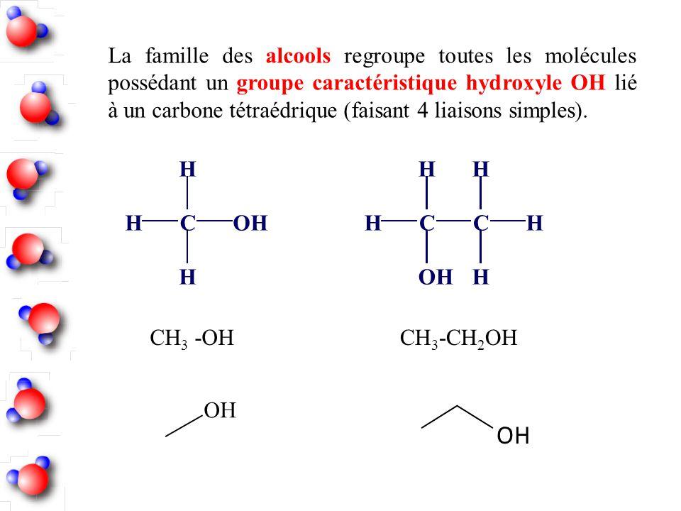 La famille des alcools regroupe toutes les molécules possédant un groupe caractéristique hydroxyle OH lié à un carbone tétraédrique (faisant 4 liaison