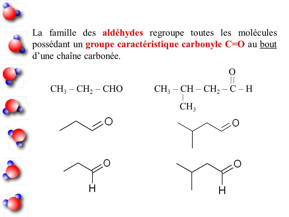 La famille des aldéhydes regroupe toutes les molécules possédant un groupe caractéristique carbonyle C=O au bout dune chaîne carbonée. CH 3 – CH 2 – C