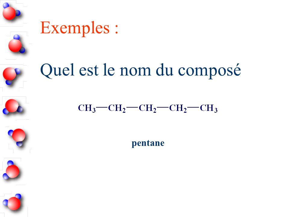 Exemples : Quel est le nom du composé pentane