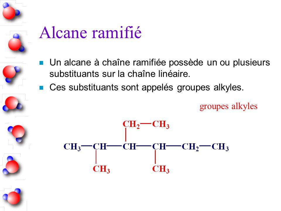 Alcane ramifié n Un alcane à chaîne ramifiée possède un ou plusieurs substituants sur la chaîne linéaire. n Ces substituants sont appelés groupes alky