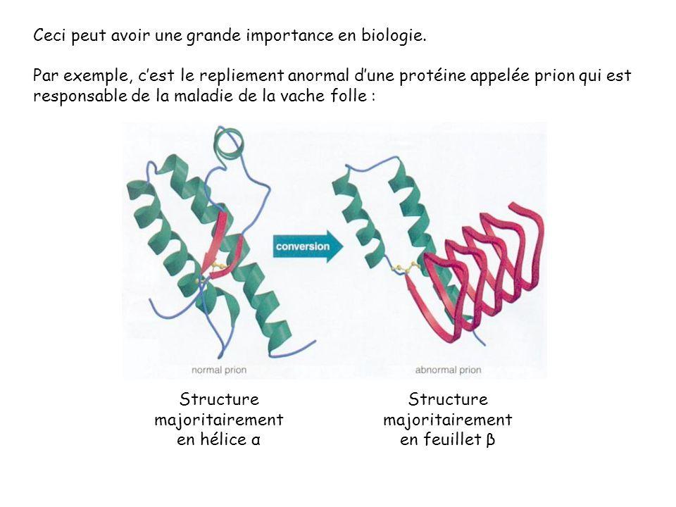 Ceci peut avoir une grande importance en biologie. Par exemple, cest le repliement anormal dune protéine appelée prion qui est responsable de la malad