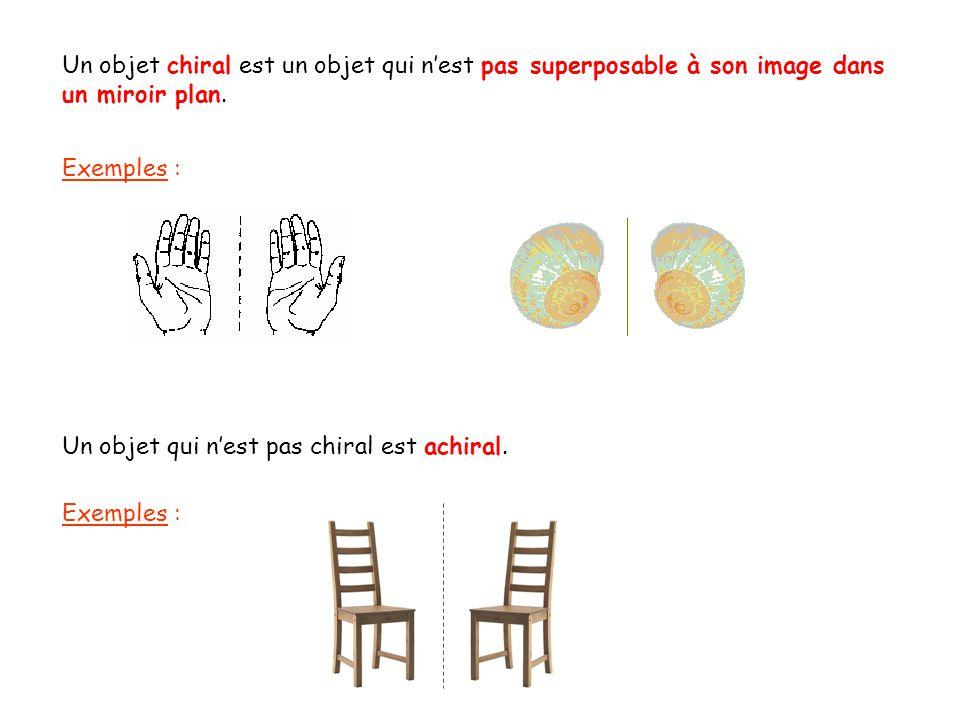 Un objet chiral est un objet qui nest pas superposable à son image dans un miroir plan. Exemples : Un objet qui nest pas chiral est achiral. Exemples