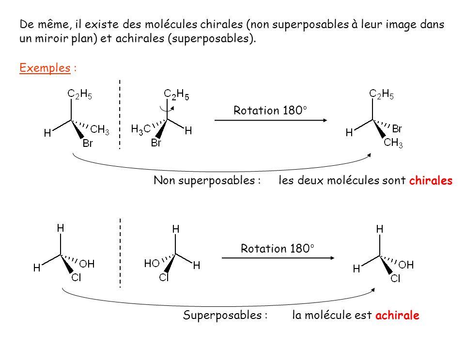 De même, il existe des molécules chirales (non superposables à leur image dans un miroir plan) et achirales (superposables). Exemples : Rotation 180°