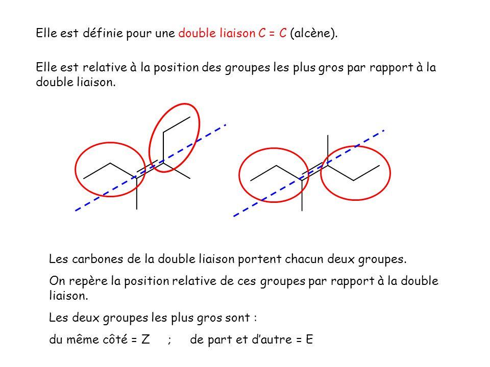 Elle est relative à la position des groupes les plus gros par rapport à la double liaison. Elle est définie pour une double liaison C = C (alcène). Le