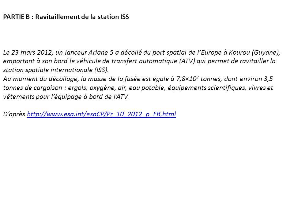 PARTIE B : Ravitaillement de la station ISS Le 23 mars 2012, un lanceur Ariane 5 a décollé du port spatial de lEurope à Kourou (Guyane), emportant à s