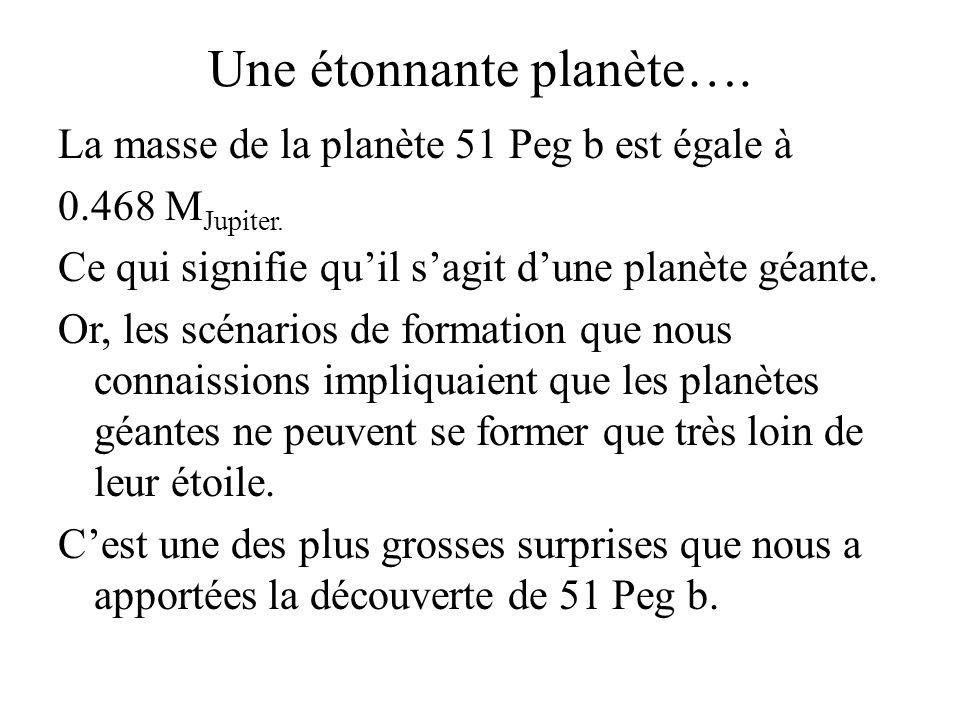 Une étonnante planète…. La masse de la planète 51 Peg b est égale à 0.468 M Jupiter. Ce qui signifie quil sagit dune planète géante. Or, les scénarios