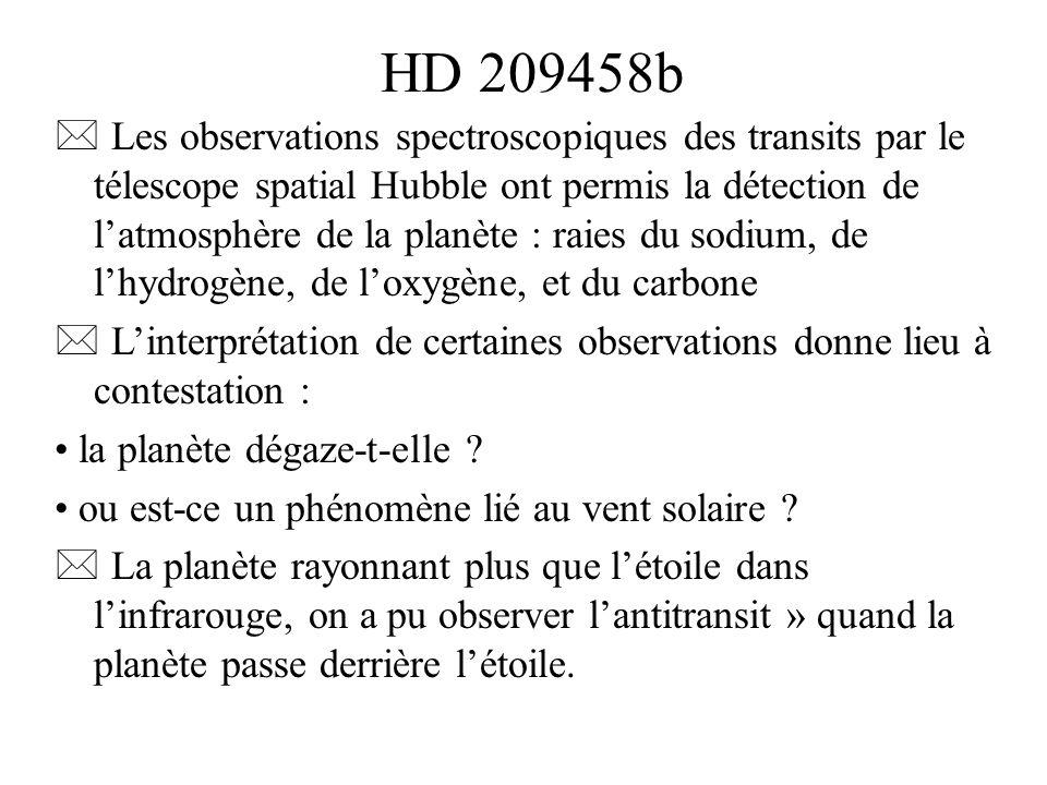 HD 209458b Les observations spectroscopiques des transits par le télescope spatial Hubble ont permis la détection de latmosphère de la planète : raies