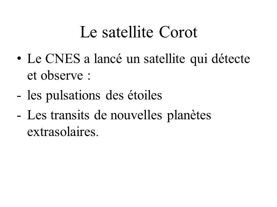 Le satellite Corot Le CNES a lancé un satellite qui détecte et observe : -les pulsations des étoiles -Les transits de nouvelles planètes extrasolaires