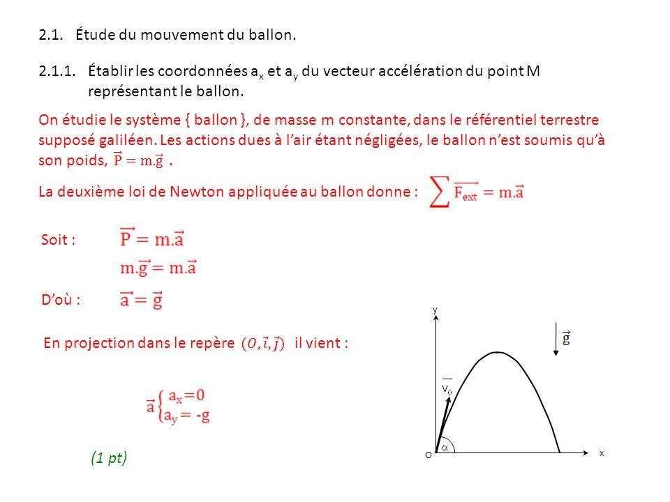 2.1. Étude du mouvement du ballon. 2.1.1. Établir les coordonnées a x et a y du vecteur accélération du point M représentant le ballon. On étudie le s