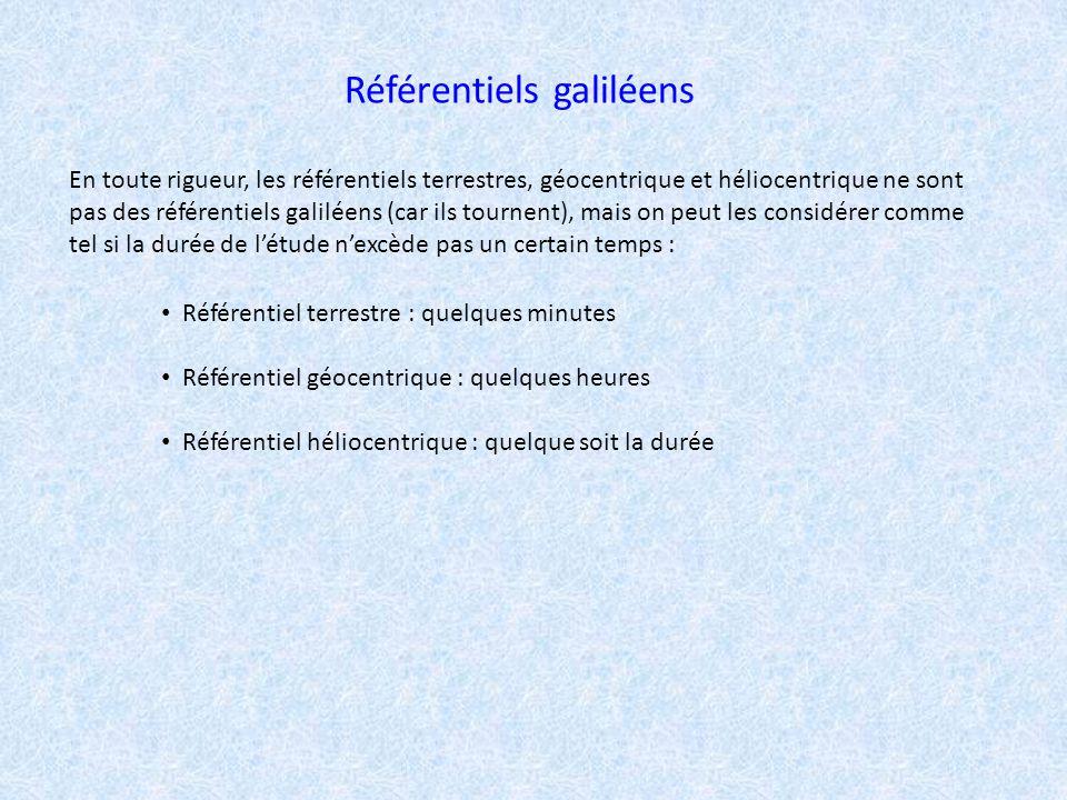 Référentiels galiléens En toute rigueur, les référentiels terrestres, géocentrique et héliocentrique ne sont pas des référentiels galiléens (car ils t