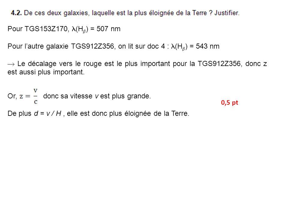 Pour TGS153Z170, (H ) = 507 nm Pour lautre galaxie TGS912Z356, on lit sur doc 4 : (H ) = 543 nm Le décalage vers le rouge est le plus important pour la TGS912Z356, donc z est aussi plus important.