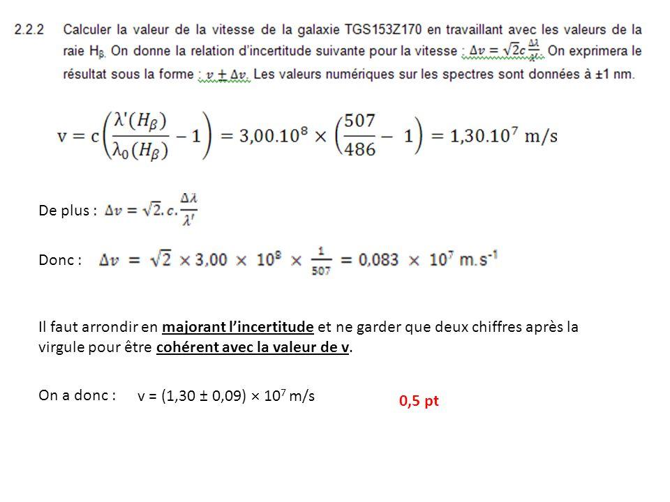 De plus : Donc : Il faut arrondir en majorant lincertitude et ne garder que deux chiffres après la virgule pour être cohérent avec la valeur de v.