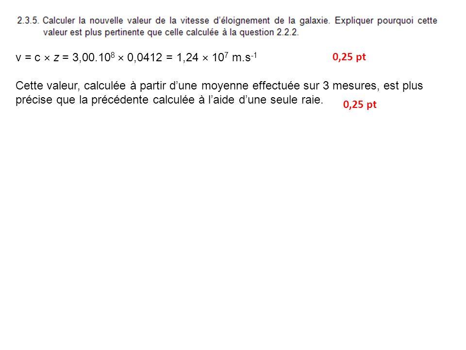 v = c z = 3,00.10 8 0,0412 = 1,24 10 7 m.s -1 Cette valeur, calculée à partir dune moyenne effectuée sur 3 mesures, est plus précise que la précédente calculée à laide dune seule raie.