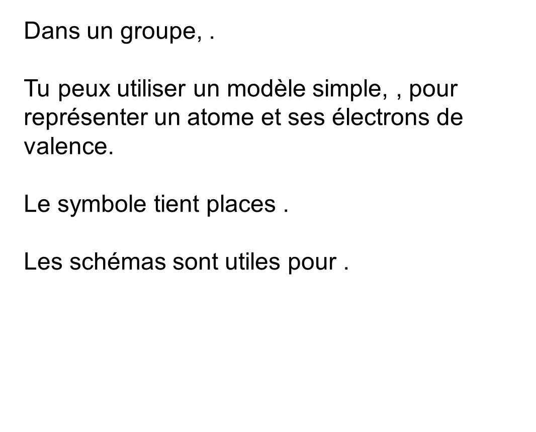 Dans un groupe,. Tu peux utiliser un modèle simple,, pour représenter un atome et ses électrons de valence. Le symbole tient places. Les schémas sont