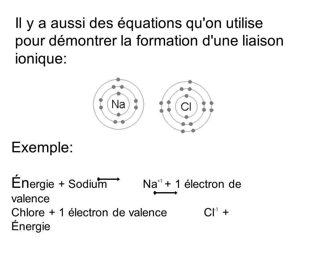 Il y a aussi des équations qu'on utilise pour démontrer la formation d'une liaison ionique: Exemple: Én ergie + Sodium Na +1 + 1 électron de valence C