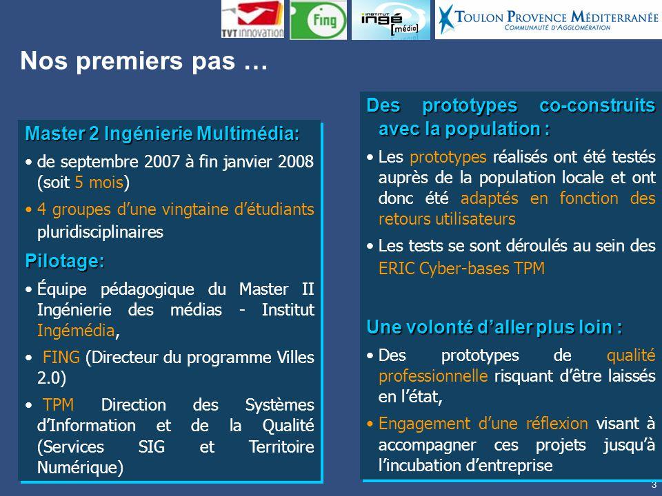 3 Nos premiers pas … Master 2 Ingénierie Multimédia: de septembre 2007 à fin janvier 2008 (soit 5 mois) 4 groupes dune vingtaine détudiants pluridisciplinairesPilotage: Équipe pédagogique du Master II Ingénierie des médias - Institut Ingémédia, FING (Directeur du programme Villes 2.0) TPM Direction des Systèmes dInformation et de la Qualité (Services SIG et Territoire Numérique) Master 2 Ingénierie Multimédia: de septembre 2007 à fin janvier 2008 (soit 5 mois) 4 groupes dune vingtaine détudiants pluridisciplinairesPilotage: Équipe pédagogique du Master II Ingénierie des médias - Institut Ingémédia, FING (Directeur du programme Villes 2.0) TPM Direction des Systèmes dInformation et de la Qualité (Services SIG et Territoire Numérique) Des prototypes co-construits avec la population : Les prototypes réalisés ont été testés auprès de la population locale et ont donc été adaptés en fonction des retours utilisateurs Les tests se sont déroulés au sein des ERIC Cyber-bases TPM Une volonté daller plus loin : Des prototypes de qualité professionnelle risquant dêtre laissés en létat, Engagement dune réflexion visant à accompagner ces projets jusquà lincubation dentreprise Des prototypes co-construits avec la population : Les prototypes réalisés ont été testés auprès de la population locale et ont donc été adaptés en fonction des retours utilisateurs Les tests se sont déroulés au sein des ERIC Cyber-bases TPM Une volonté daller plus loin : Des prototypes de qualité professionnelle risquant dêtre laissés en létat, Engagement dune réflexion visant à accompagner ces projets jusquà lincubation dentreprise