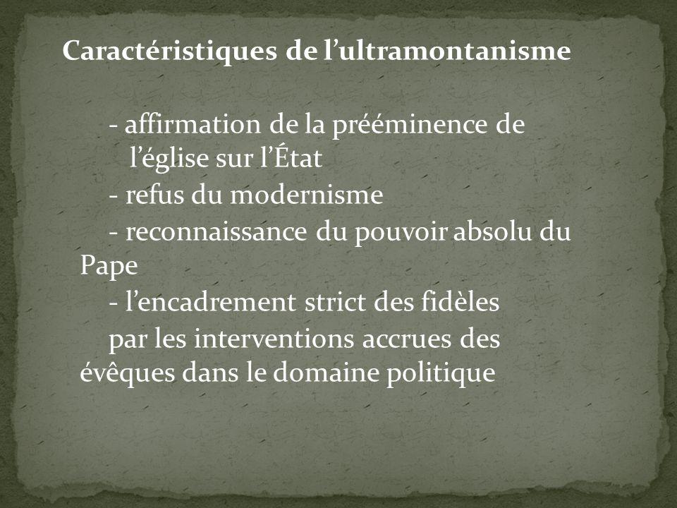 Caractéristiques de lultramontanisme - affirmation de la prééminence de léglise sur lÉtat - refus du modernisme - reconnaissance du pouvoir absolu du Pape - lencadrement strict des fidèles par les interventions accrues des évêques dans le domaine politique