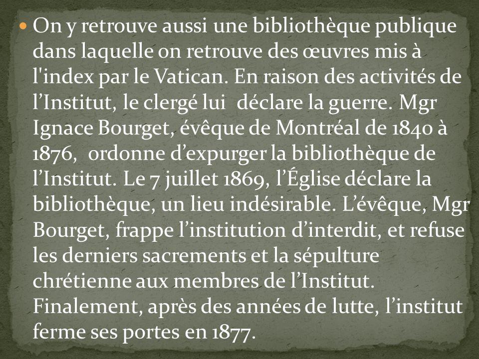 On y retrouve aussi une bibliothèque publique dans laquelle on retrouve des œuvres mis à l index par le Vatican.