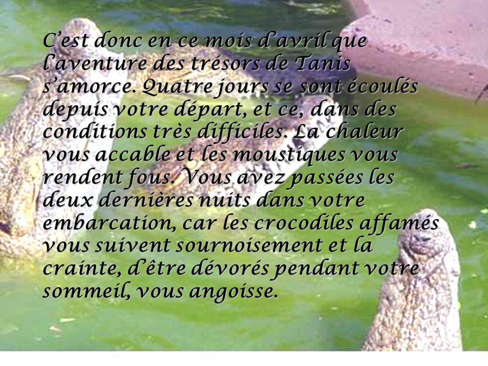 Cest donc en ce mois davril que laventure des trésors de Tanis samorce. Quatre jours se sont écoulés depuis votre départ, et ce, dans des conditions t