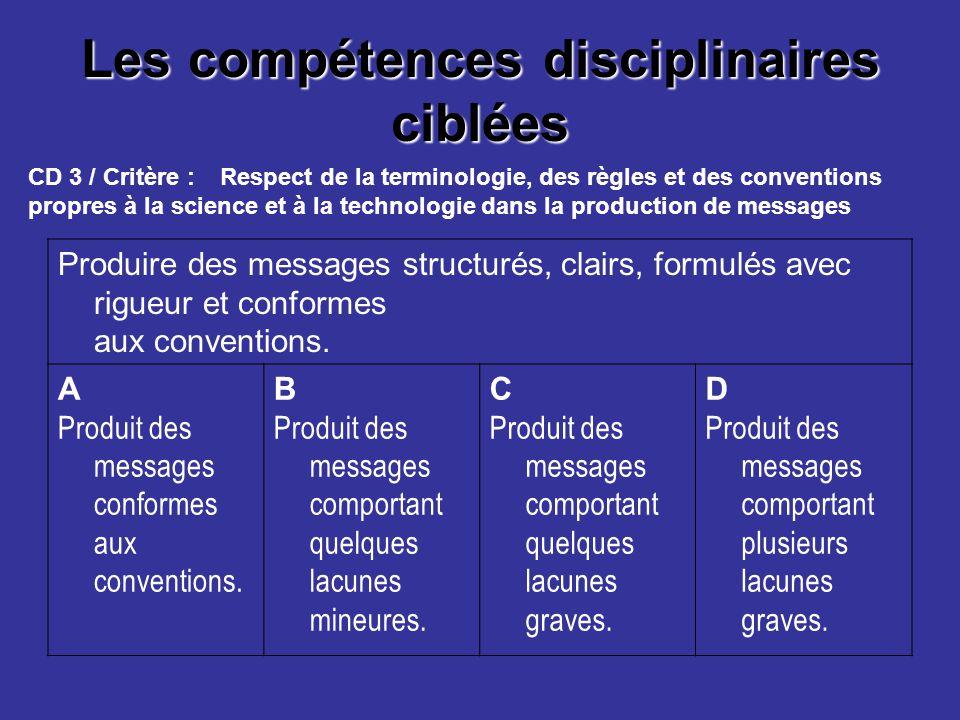 Les compétences disciplinaires ciblées Produire des messages structurés, clairs, formulés avec rigueur et conformes aux conventions. A Produit des mes
