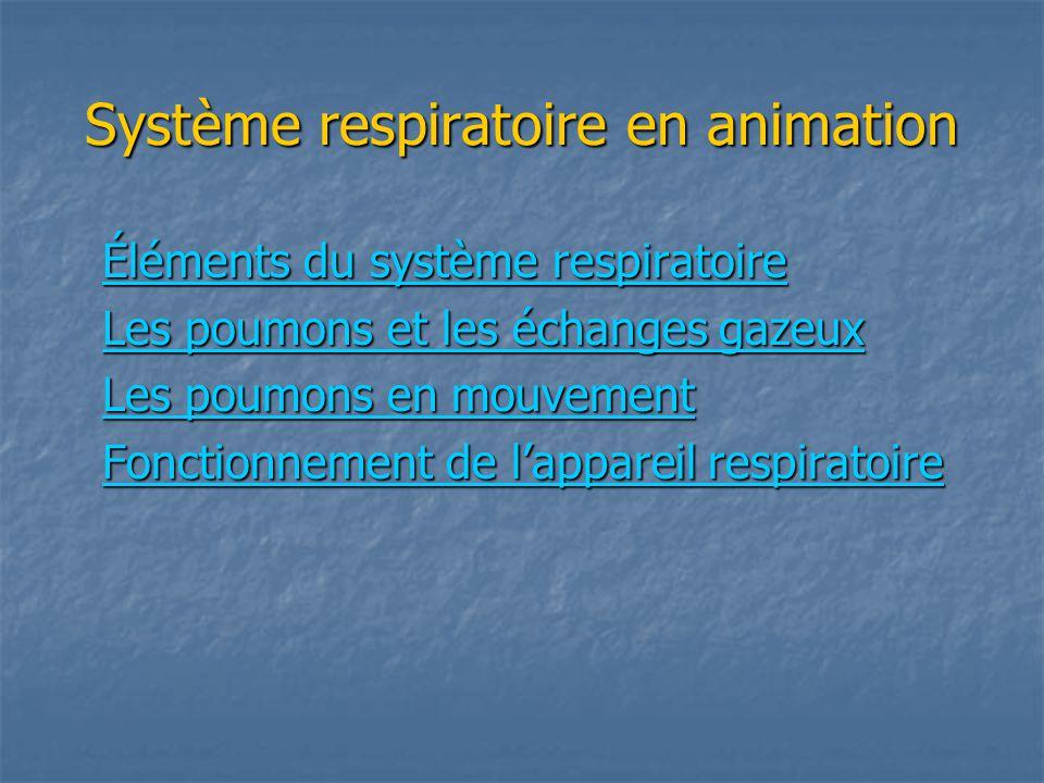 Système respiratoire en animation Éléments du système respiratoire Éléments du système respiratoire Les poumons et les échanges gazeux Les poumons et les échanges gazeux Les poumons en mouvement Les poumons en mouvement Fonctionnement de lappareil respiratoire Fonctionnement de lappareil respiratoire