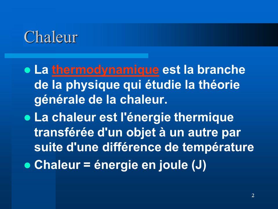 2 Chaleur La thermodynamique est la branche de la physique qui étudie la théorie générale de la chaleur.thermodynamique La chaleur est l'énergie therm