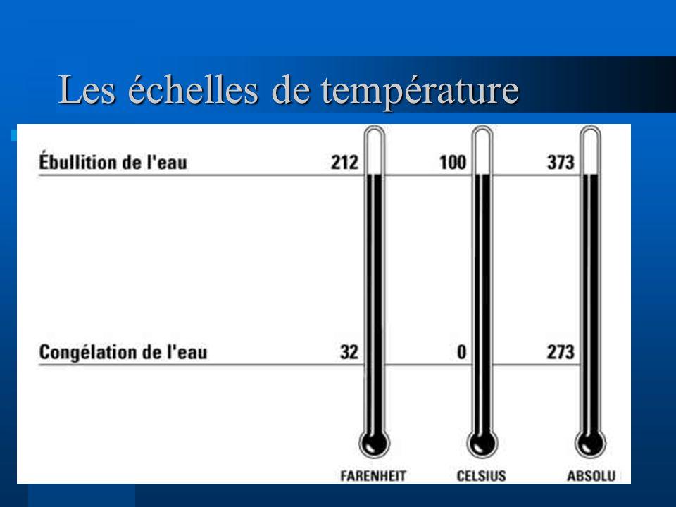 7 Les échelles de température