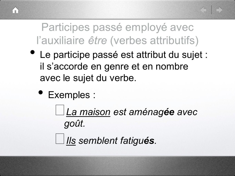 Participes passé employé avec lauxiliaire être (verbes attributifs) Le participe passé est attribut du sujet : il saccorde en genre et en nombre avec