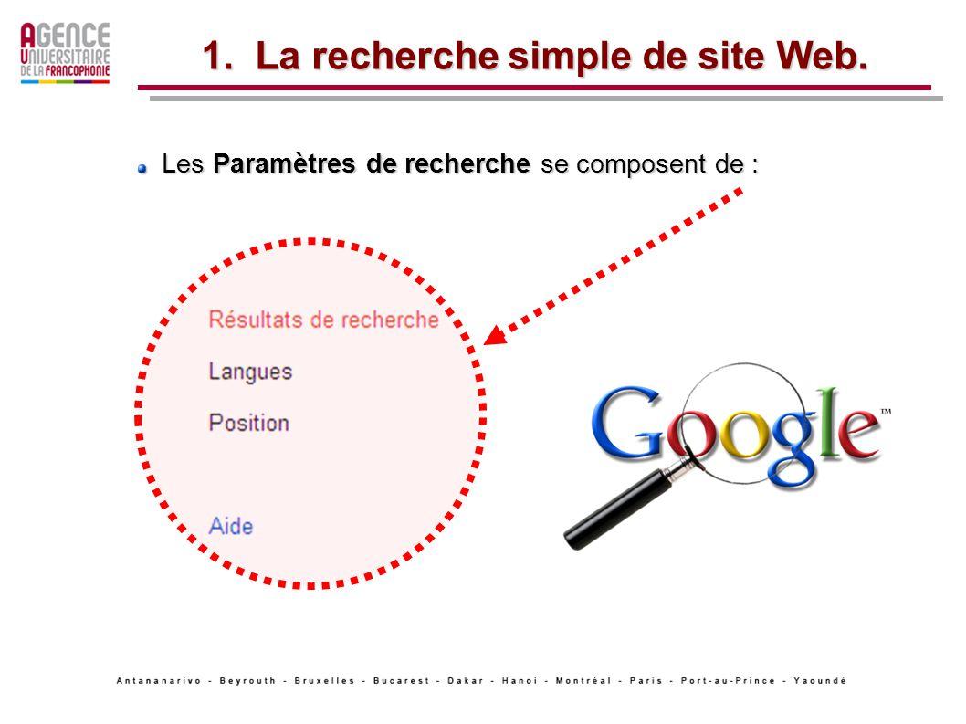 Les Paramètres de recherche se composent de : Les Paramètres de recherche se composent de : 1.