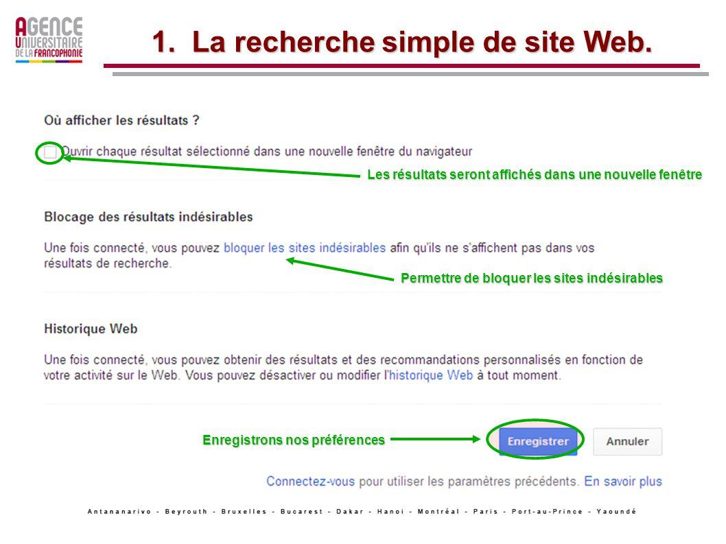 1. La recherche simple de site Web.