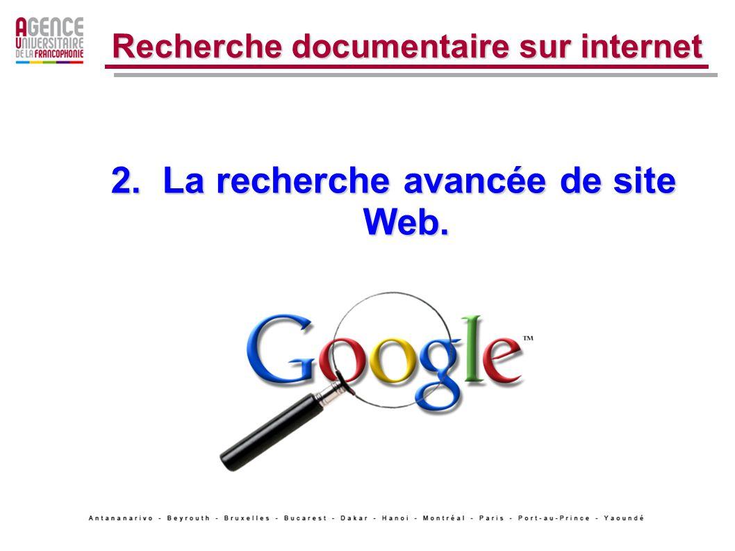 2. La recherche avancée de site Web. Recherche documentaire sur internet
